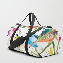 Birds Colourful Floral Motif Pattern Tropical decor Spring Flowers Duffle Bag