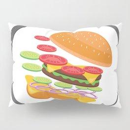 Awesome Burger falling down - I love Burger Pillow Sham