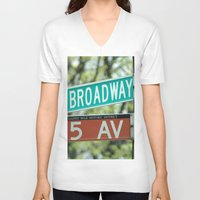 broadway V-neck T-shirts featuring Sign Broadway 5 Ave by Premium