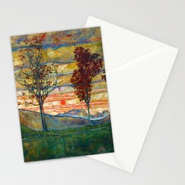 Four Trees with Red Leaves at Sunrise landscape painting by Egon Schiele Stationery Cards