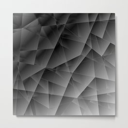 Metallic pattern of chaotic black and white fragments of glass, foil, and silver plates. Metal Print