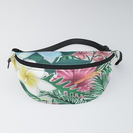 Tropical Island Style Aqua & Pink Floral Print With Plumerias Fanny Pack