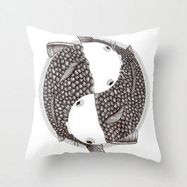 Pisces - Fish Koi - Japanese Tattoo Style (black and white) Throw Pillow