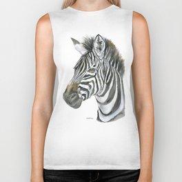 Zebra Watercolor Painting - African Animal Painting Wildlife Head Bust Biker Tank