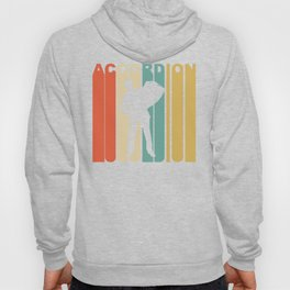 Retro 1970's Style Accordion Player Silhouette Music Hoody