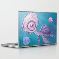 sea turtle Laptop & iPad Skins featuring Sea Turtle by John Schwegel