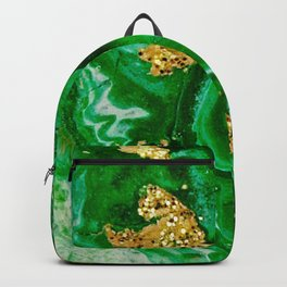 Neon Green and Gold Acrylic Painting Backpack