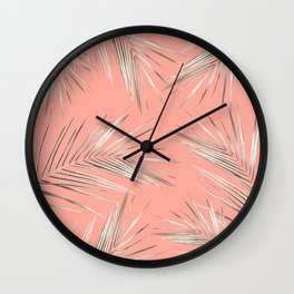 White Gold Palm Leaves on Coral Pink Wall Clock