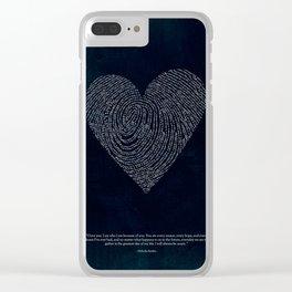 Coded heartprint - dark print Clear iPhone Case