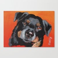 rottweiler Canvas Prints featuring Rottweiler by Stanley Arts