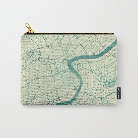 Shanghai Map Blue Vintage Carry-All Pouch