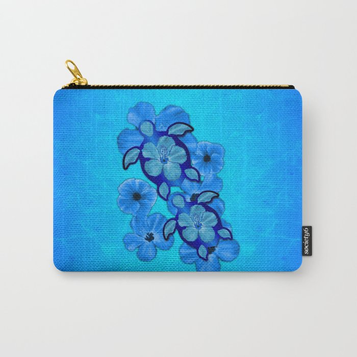 Blue Hibiscus And Honu Turtles Carry-All Pouch