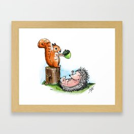 squirrel & hedgehog Framed Art Print