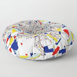 New Orleans, Louisiana City Map - Mondrian Floor Pillow