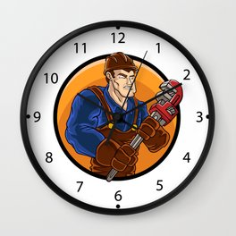 strong plumber holding wrench Wall Clock