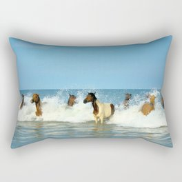 Wild Horses Swimming in Ocean Rectangular Pillow