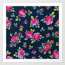 Raspberry Roses Art Print