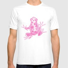 Little Frog Magenta Mens Fitted Tee White SMALL
