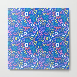 Bright Hand-Drawn 90s Pattern Metal Print