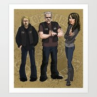 sons of anarchy Art Prints featuring Sons of Anarchy Illustration by Bark Point Studio