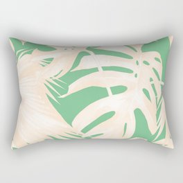 Tropical Coral Green Palm Leaf Pattern Rectangular Pillow