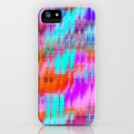 psychedelic geometric painting texture abstract background in pink blue orange purple iPhone Case