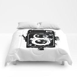 Big Vintage Camera Love - Black Comforters
