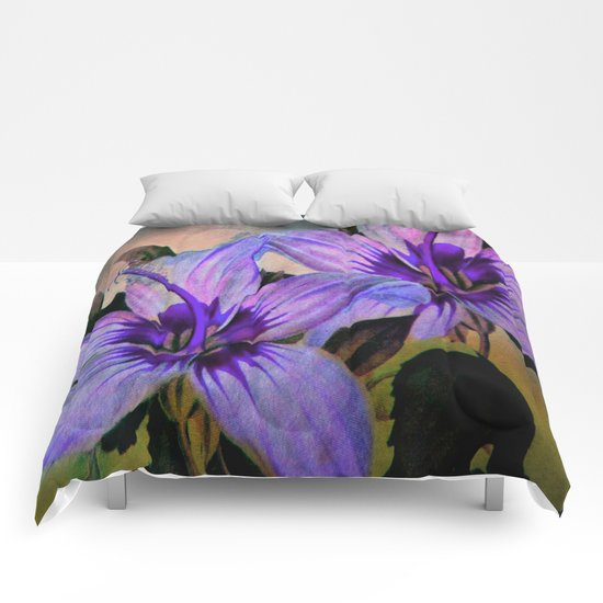 Vintage Painted Lavender Lily Comforters