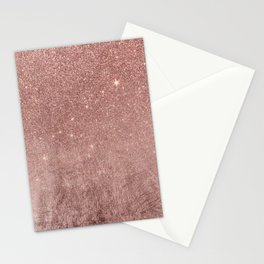 Girly Glam Pink Rose Gold Foil and Glitter Mesh Stationery Cards