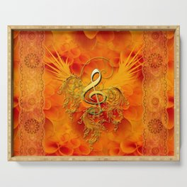 Clef with flowers Serving Tray