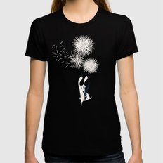 Bunny and Dandelion Bouquet LARGE Womens Fitted Tee Black
