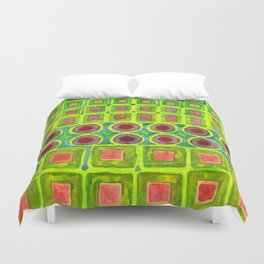 Connected filled Squares Fields Duvet Cover