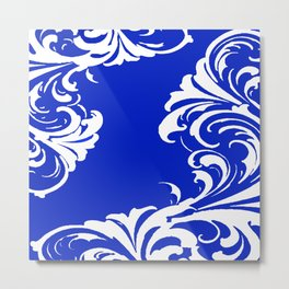 Damask Blue and White Victorian Swirl Damask Pattern Metal Print