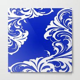 Damask Blue and White Victorian Swirl Damask Pattern Metal Print