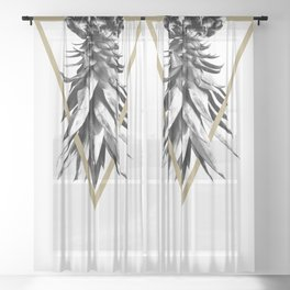Pineapple Upside Down Geo #1 #tropical #fruit #decor #art #society6 Sheer Curtain