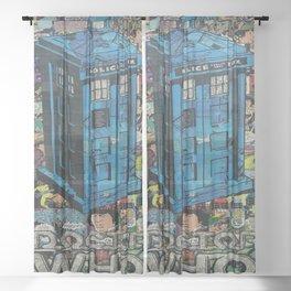Tardis doctor who comic Sheer Curtain
