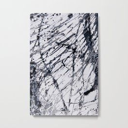 Abstract expressionism pattern. Style of drip painting. Black and white paint. Metal Print