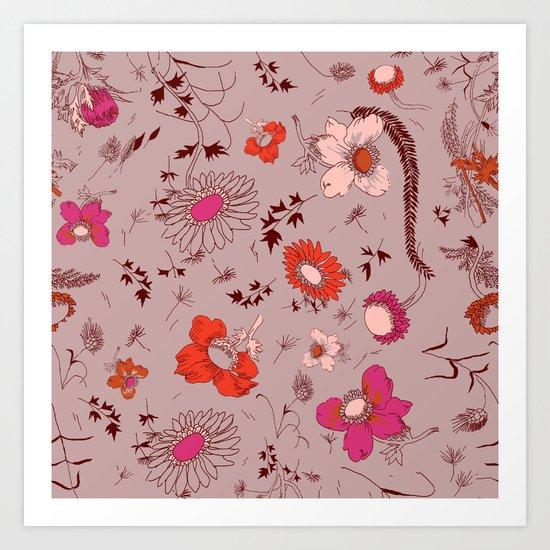 large floral print - pinks Art Print