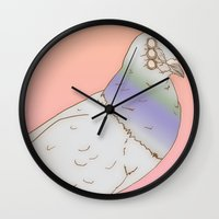 pigeon Wall Clocks featuring pigeon by STUPIDkid