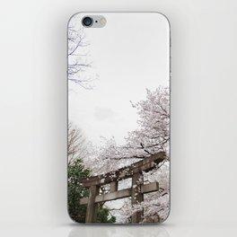Shrine amongst cherry blossoms in Ueno Park iPhone Skin