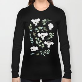 Koala and Eucalyptus Pattern Long Sleeve T-shirt