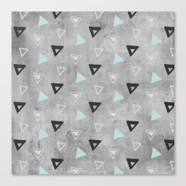 60ies - Black abstract triangle pattern on concrete - Mix&Match with Simplicty of life Canvas Print