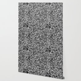 Dark Grey Monochrome Speckles Terrazzo Pattern Stone Effect Wallpaper