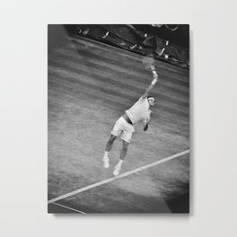 Roger Federer Black And White Wimbledon Tennis Metal Print