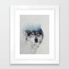 Grey Wolf In Fog Framed Art Print