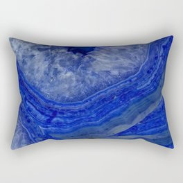 deep blue agate with peach background Rectangular Pillow