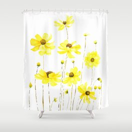 yellow cosmos flowers watercolor Shower Curtain
