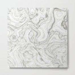 WHITE LIQUID MARBLING Metal Print