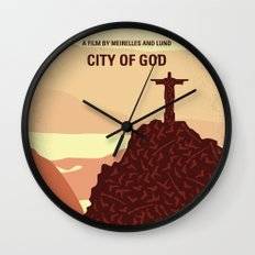 No716 My City of God minimal movie poster Wall Clock