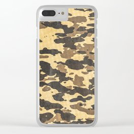 Desert Camouflage Retro Grunge Pattern Clear iPhone Case